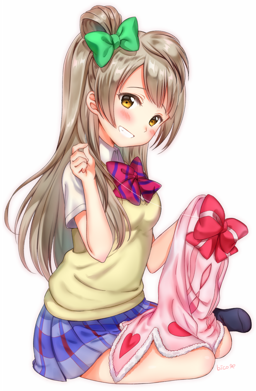 brown_eyes brown_hair long_hair minami_kotori smile