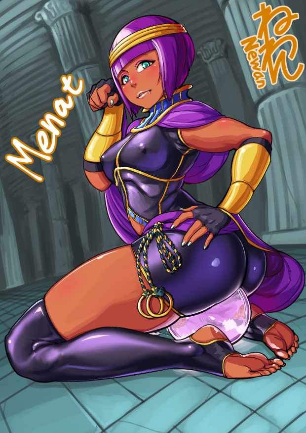 1girl ass bangs barefoot blunt_bangs bob_cut bracer breasts circlet crystal_ball dark_skin erect_nipples feet fingerless_gloves full_body gloves gorget green_eyes hand_on_hip looking_at_viewer menat neone no_shoes over-kneehighs paw_pose purple_hair shawl short_hair skin_tight skindentation small_breasts soles solo street_fighter street_fighter_v thigh-highs toeless_legwear toes unitard