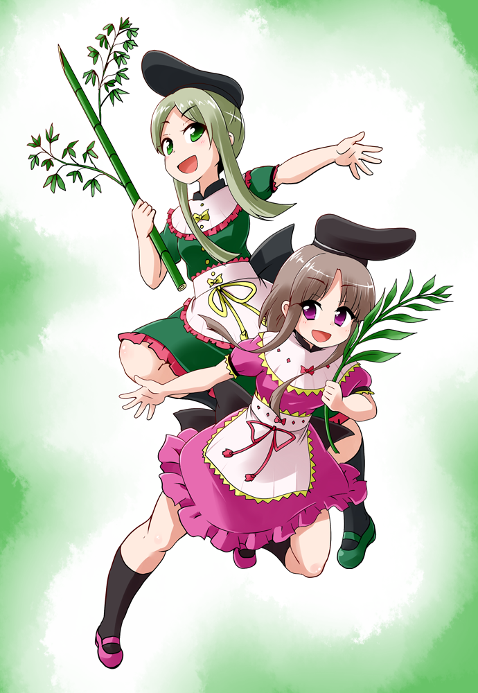 2girls apron bamboo bamboo_leaf bent_knees black_bow black_hat black_legwear bow breasts buttons capelet dress eyebrows_visible_through_hair frills full_body green_dress green_eyes hat holding kousei_(public_planet) mary_janes medium_breasts medium_hair multiple_girls myouga_(plant) nishida_satono pink_bow pink_dress pink_eyes pink_ribbon puffy_sleeves ribbon shoes short_hair_with_long_locks teireida_mai touhou white_apron white_capelet yellow_bow yellow_ribbon