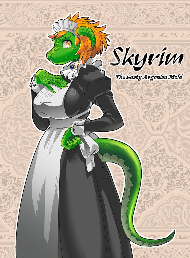 1girl apron argonian beige_background black_dress breasts brooch brown_eyes closed_mouth commentary_request copyright_name dress english from_side green_skin hand_on_hip hand_on_own_chest horns jewelry kurohiko large_breasts long_sleeves looking_at_viewer maid maid_headdress monster_girl orange_hair outline profile puffy_long_sleeves puffy_sleeves scales slit_pupils solo standing tail the_elder_scrolls the_elder_scrolls_v:_skyrim white_apron wrist_cuffs