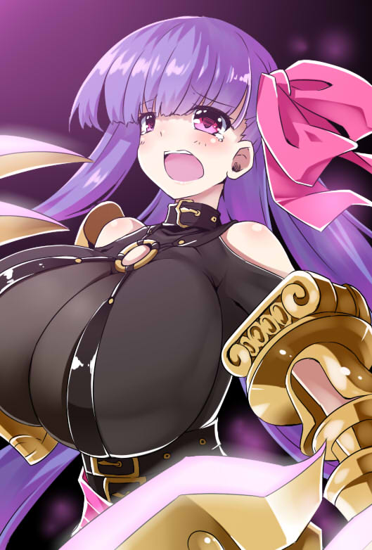 1girl bare_shoulders blush bow breasts claws fate/extra fate/extra_ccc fate/grand_order fate_(series) hair_ribbon huge_breasts long_hair o-ring open_mouth passion_lip pink_eyes purple_hair ribbon shinsekai solo tears upper_body very_long_hair