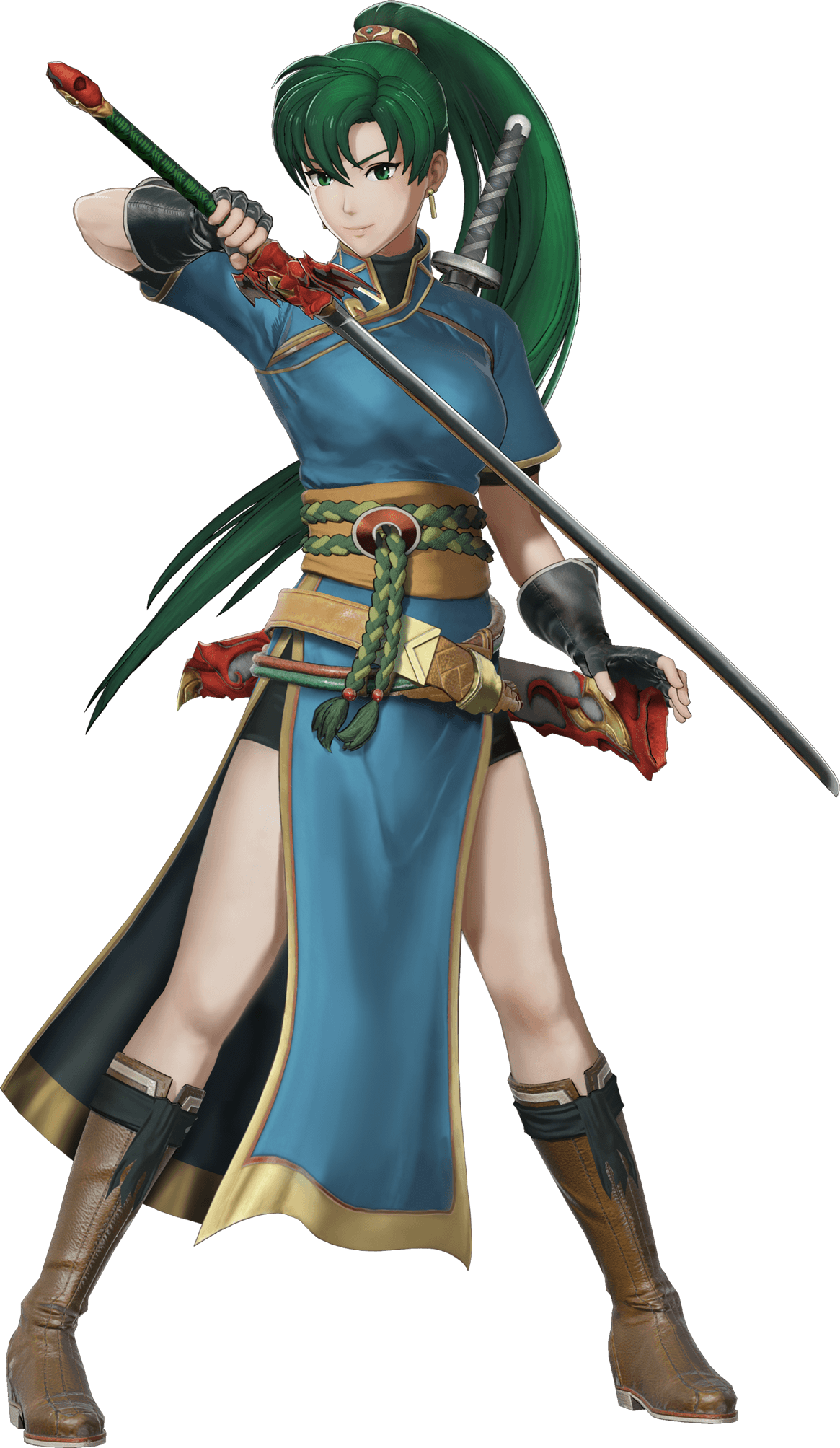 1girl bangs belt boots breasts dress earrings fingerless_gloves fire_emblem fire_emblem:_rekka_no_ken fire_emblem_musou full_body gloves green_eyes green_hair highres holding holding_weapon jewelry knee_boots long_hair looking_at_viewer lyndis_(fire_emblem) medium_breasts official_art pelvic_curtain ponytail sheath short_sleeves shorts smile solo sword transparent_background weapon