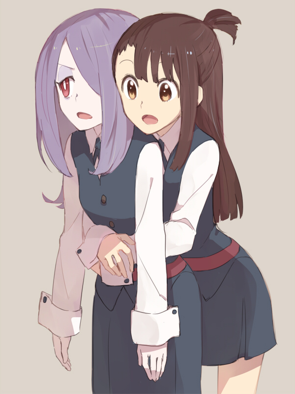 2girls hug hug_from_behind kagari_atsuko little_witch_academia multiple_girls sou_(tuhut) sucy_manbavaran