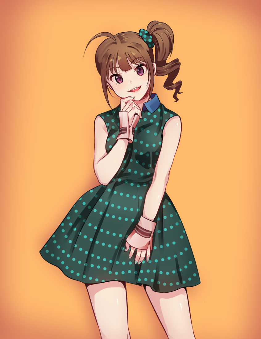1girl ahoge blush breasts brown_hair dress drill_hair eyebrows_visible_through_hair green_dress green_nails hand_on_own_chin idolmaster idolmaster_million_live! kamille_(vcx68) looking_at_viewer medium_breasts nail_polish orange_background parted_lips sleeveless sleeveless_dress smile solo violet_eyes yokoyama_nao