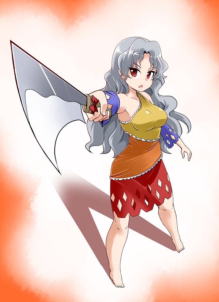 1girl bare_shoulders barefoot breasts commentary_request detached_sleeves dress eyebrows_visible_through_hair frills full_body grey_hair hatchet holding holding_weapon kousei_(public_planet) long_hair looking_at_viewer medium_breasts multicolored multicolored_clothes multicolored_dress open_mouth oriental_hatchet pointing_weapon red_eyes ribbon sakata_nemuno single_strap solo standing touhou triangle_mouth wavy_hair weapon