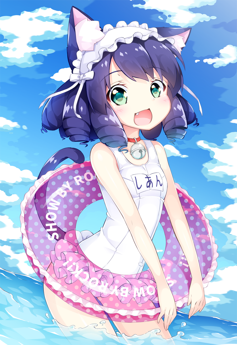 1girl :d animal_ears bangs bare_arms bare_shoulders bell blue_sky blush bow breasts cat_ears cat_girl cat_tail clouds commentary_request copyright_name curly_hair cyan_(show_by_rock!!) day eyebrows_visible_through_hair fang frilled_swimsuit frills green_eyes hairband highres innertube inumine_aya jingle_bell lolita_hairband long_hair looking_at_viewer name_tag ocean one-piece_swimsuit open_mouth outdoors polka_dot_innertube purple_hair school_swimsuit show_by_rock!! sky small_breasts smile solo sparkling_eyes swimsuit tail transparent wading water white_bow white_school_swimsuit white_swimsuit