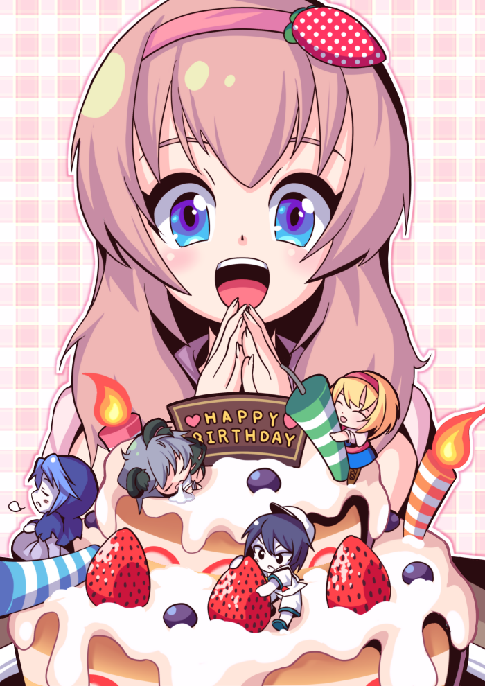 5girls alice_margatroid artist_request birthday_cake black_eyes black_hair blue_eyes blue_hair blush boots brown_boots cake candle chibi closed_eyes cookie_(touhou) eyebrows facing_away flour_(cookie) food fruit grey_hair hairband happy_birthday hat ichigo_(cookie) kumoi_ichirin long_hair looking_at_viewer looking_away milk_(cookie) multiple_girls murasa_minamitsu nazrin nyon_(cookie) open_mouth parted_lips pink_hair short_hair sleeping strawberry touhou white_hat white_skin
