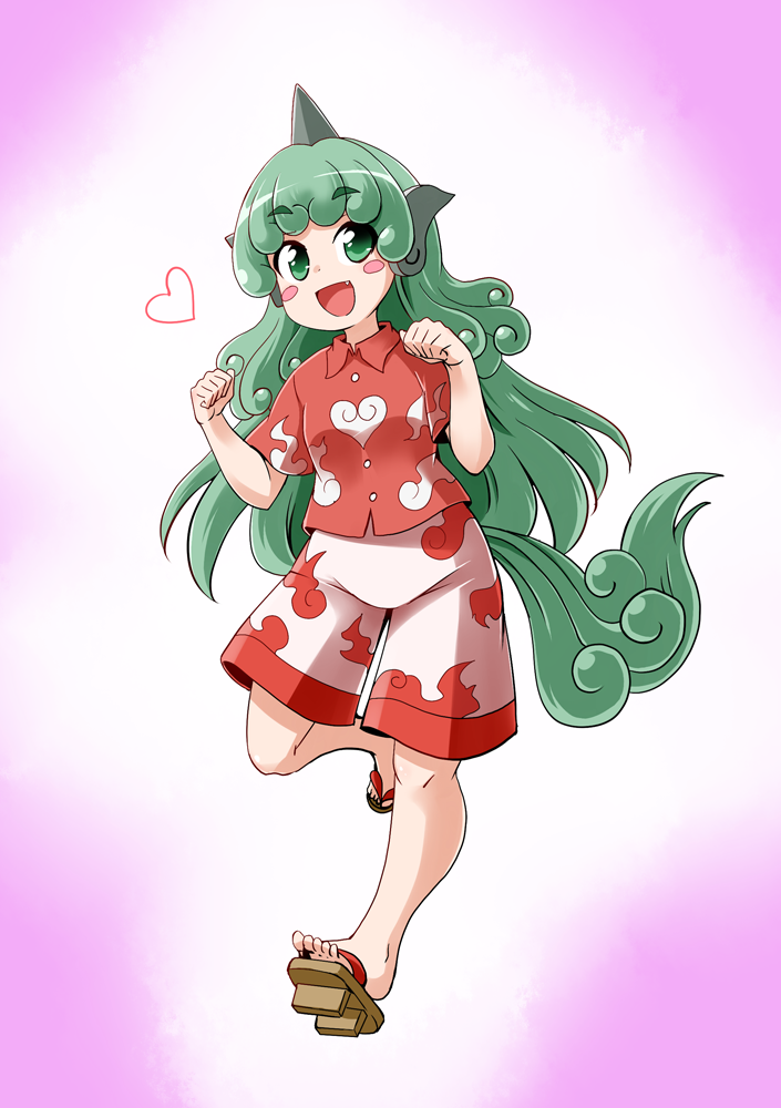 1girl :d blush_stickers commentary_request curly_hair fang full_body geta green_eyes green_hair heart horn kariyushi_shirt komano_aun kousei_(public_planet) long_hair open_mouth paw_pose shirt shorts smile solo t-shirt tail touhou