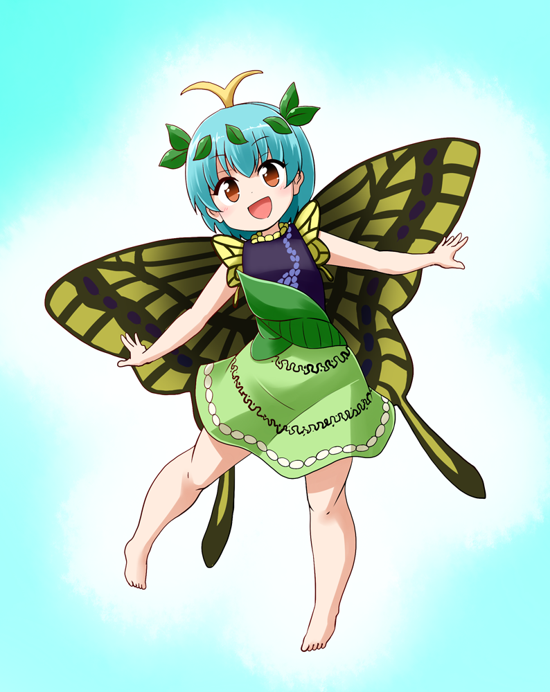 1girl :d antennae aqua_hair barefoot brown_eyes butterfly_wings commentary_request dress eternity_larva fairy full_body kousei_(public_planet) leaf leaf_on_head multicolored multicolored_clothes multicolored_dress open_mouth smile solo touhou wings