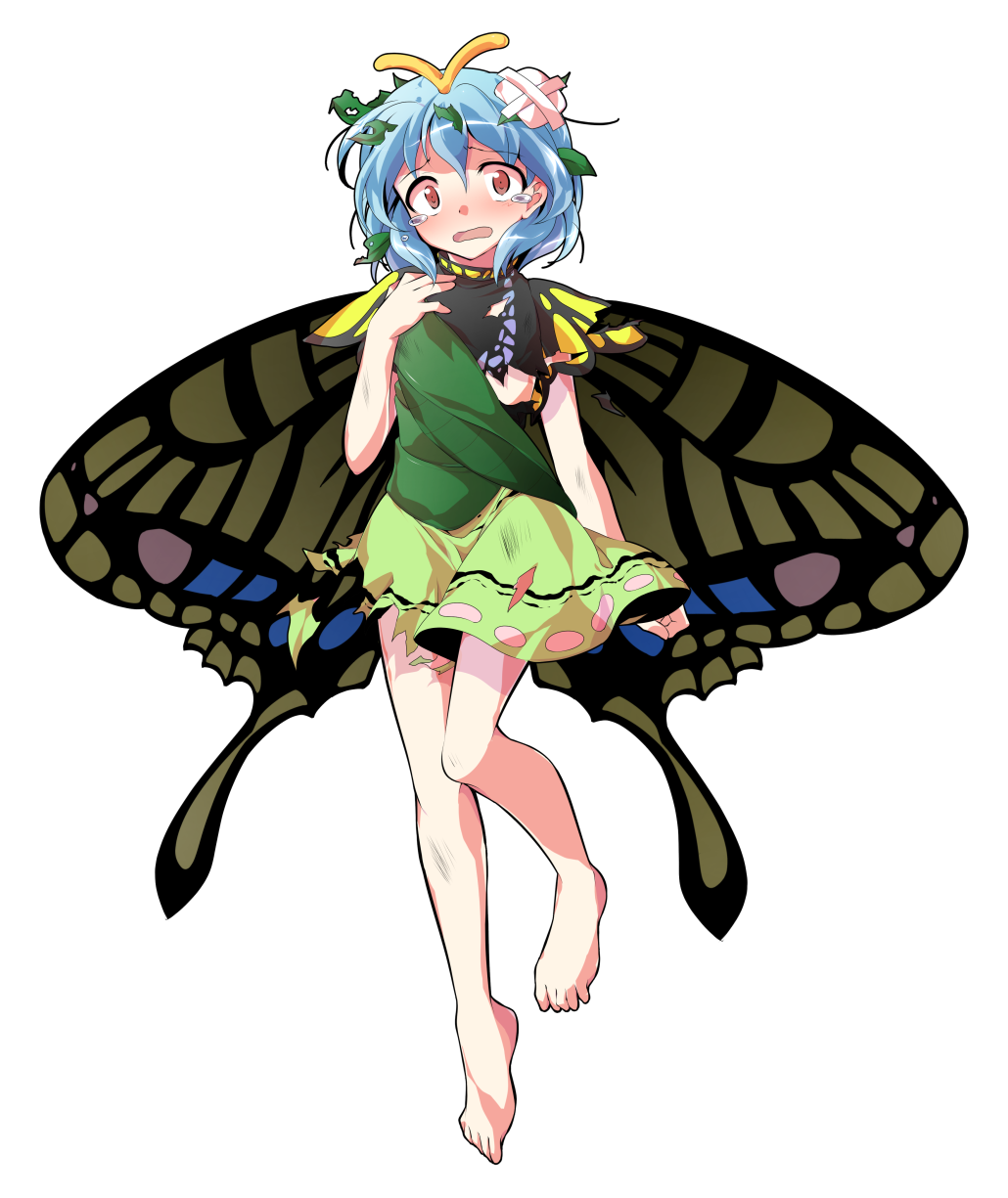 1girl alphes_(style) antennae aqua_hair bandaid barefoot brown_eyes butterfly_wings commentary_request dairi dirt dress eternity_larva fairy flat_chest full_body hand_on_own_chest highres leaf leaf_on_head multicolored multicolored_clothes multicolored_dress open_mouth parody simple_background solo style_parody tears torn_clothes touhou wings