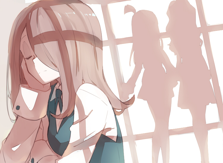 3girls diana_cavendish hair_over_one_eye jealous kagari_atsuko little_witch_academia multiple_girls silhouette sou_(tuhut) sucy_manbavaran yuri