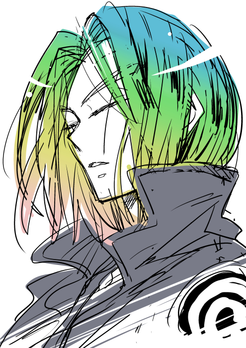 1boy blonde_hair blue_hair blue_jacket closed_eyes dragon_ball dragonball_z eyebrows_visible_through_hair green_hair jacket long_hair male_focus multicolored_hair open_mouth pink_hair simple_background solo_focus trunks_(dragon_ball) white_background