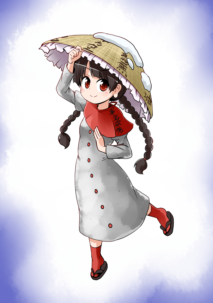 1girl ajirogasa black_hair braid buttons closed_mouth commentary_request dress earlobes eyebrows_visible_through_hair eyes_visible_through_hair flip-flops frills full_body grey_dress hand_on_headwear hat kousei_(public_planet) looking_at_viewer red_capelet red_eyes red_legwear sandals smile snow solo touhou twin_braids yatadera_narumi