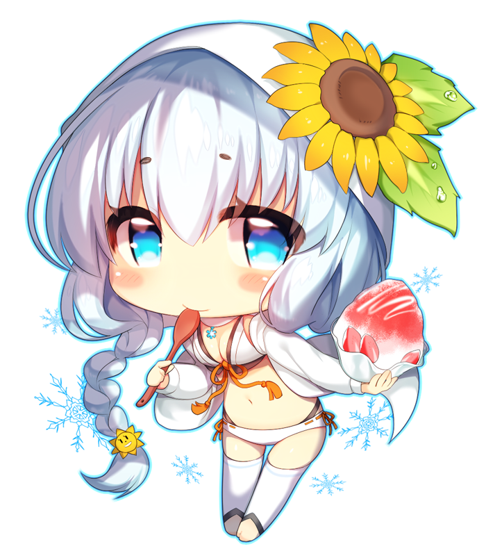 1girl blush braid breasts chibi cleavage closed_mouth eyebrows_visible_through_hair flower holding holding_spoon hyousetsu large_breasts long_hair looking_at_viewer mofuaki navel silver_hair smile solo sound_voltex spoon sunflower swimsuit thigh-highs white_legwear