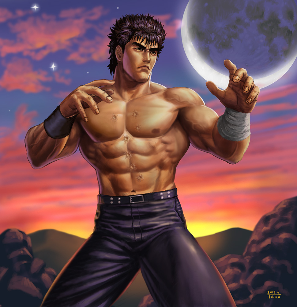 >:( 1boy abs belt black_hair blue_pants closed_mouth clouds cloudy_sky commentary_request cowboy_shot dated fighting_stance frown full_moon greyscale hokuto_no_ken kenshirou looking_afar male_focus matataku monochrome moon muscle pants scar signature sky solo standing star sunset topless wristband