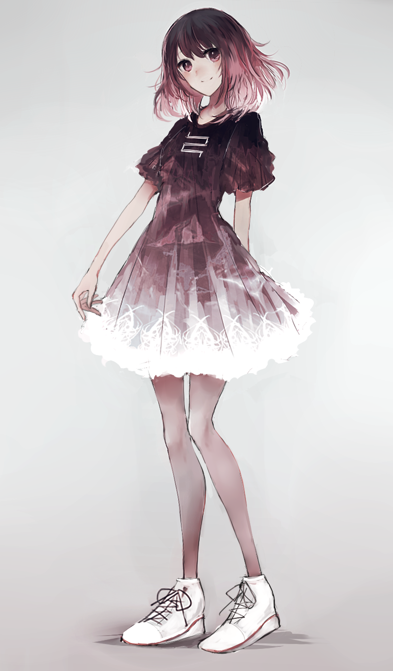 1girl bangs black_dress black_hair closed_mouth dress full_body gradient gradient_background gradient_dress gradient_hair grey_background highres looking_at_viewer multicolored_hair original puffy_short_sleeves puffy_sleeves purple_hair shoes short_sleeves smile sneakers solo standing swav white_dress white_shoes