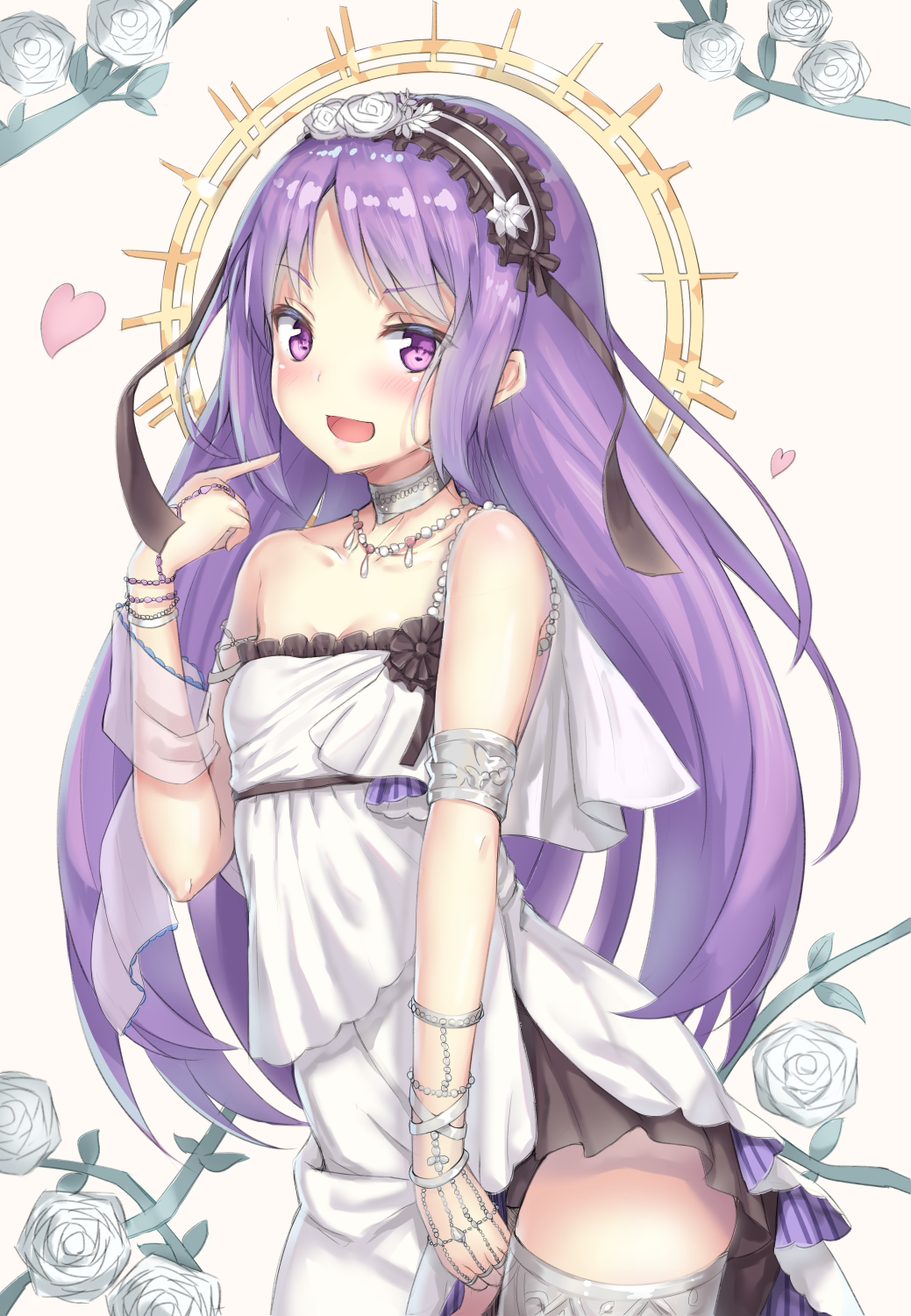 1girl :d alternate_hairstyle armlet bangs bare_shoulders black_panties collar collarbone cowboy_shot dress euryale eyebrows_visible_through_hair fate/hollow_ataraxia fate_(series) floral_background hair_down headdress heart highres index_finger_raised jewelry leaning_forward long_hair looking_at_viewer necklace open_mouth panties plant pointing pointing_at_self purple_hair reinama sidelocks smile solo thighlet tsurime underwear vines violet_eyes white_dress