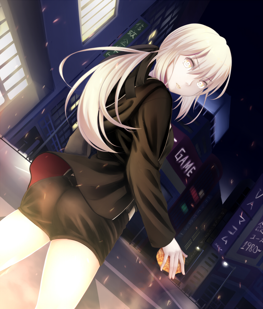 1girl artoria_pendragon_(all) ass black_jacket black_ribbon black_shirt black_shorts cowboy_shot dutch_angle eyebrows_visible_through_hair fate/hollow_ataraxia fate_(series) food hair_between_eyes hair_ribbon holding holding_food jacket koko_(koko3) long_hair looking_at_viewer looking_back night outdoors ponytail ribbon saber_alter shirt short_shorts shorts silver_hair solo standing yellow_eyes