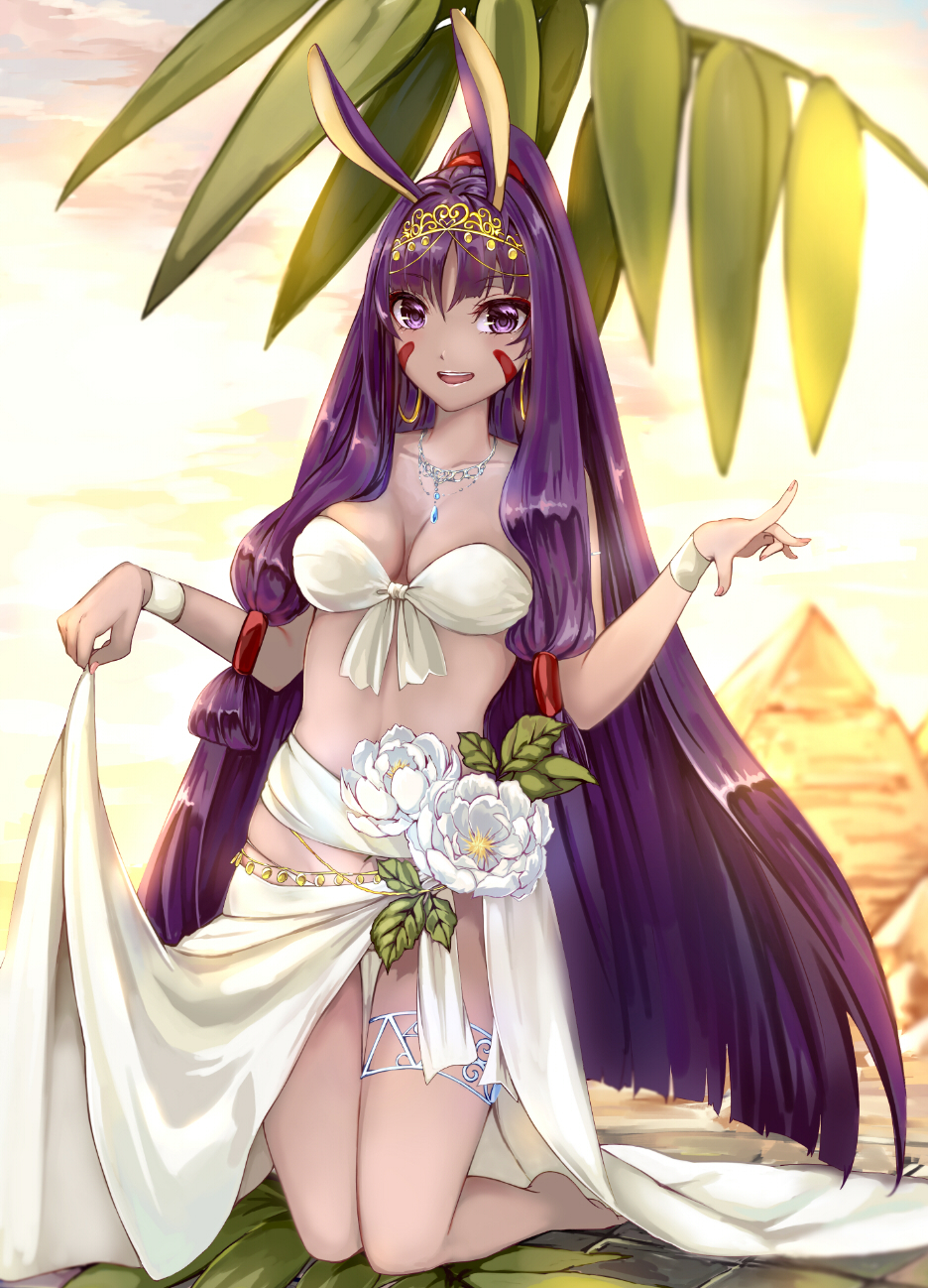 1girl :d animal_ears backlighting bangs barefoot big_hair blurry blurry_background blush breasts cleavage collarbone day earrings eyebrows_visible_through_hair facepaint fate/grand_order fate_(series) fingernails front-tie_bikini front-tie_top full_body hair_tubes highres hoop_earrings jewelry kneeling kyanoko_(rakalirica) leaf lifted_by_self long_hair looking_back low-tied_long_hair medium_breasts nail_polish necklace nitocris_(fate/grand_order) open_mouth outdoors palm_leaf pink_nails purple_hair pyramid sarong_lift smile solo sunlight thigh_gap thigh_strap upper_teeth very_long_hair violet_eyes white_bikini_top white_flower wristband