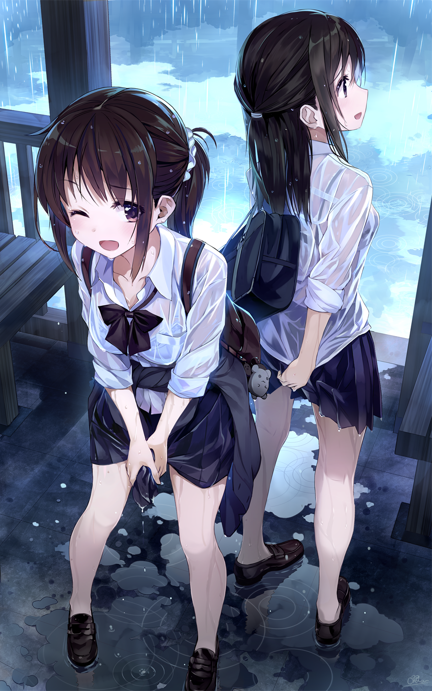 2girls ;d amagai_tarou backpack bag bag_charm bare_legs bench black_bow black_bowtie black_skirt bow bowtie bra breasts brown_hair brown_shoes charm_(object) clothes_around_waist collarbone collared_shirt commentary_request day duffel_bag eyebrows_visible_through_hair hair_ornament hair_scrunchie half_updo highres leaning_forward legs_apart loafers long_hair long_sleeves looking_at_viewer looking_away looking_to_the_side low_ponytail medium_breasts multiple_girls no_socks one_eye_closed open_mouth original pleated_skirt puddle rain reflection ripples school_bag school_uniform scrunchie see-through shirt shoes short_sleeves sidelocks signature skirt sleeves_pushed_up smile standing tareme underwear violet_eyes water wet wet_clothes wet_shirt white_bra white_shirt wing_collar wringing_clothes