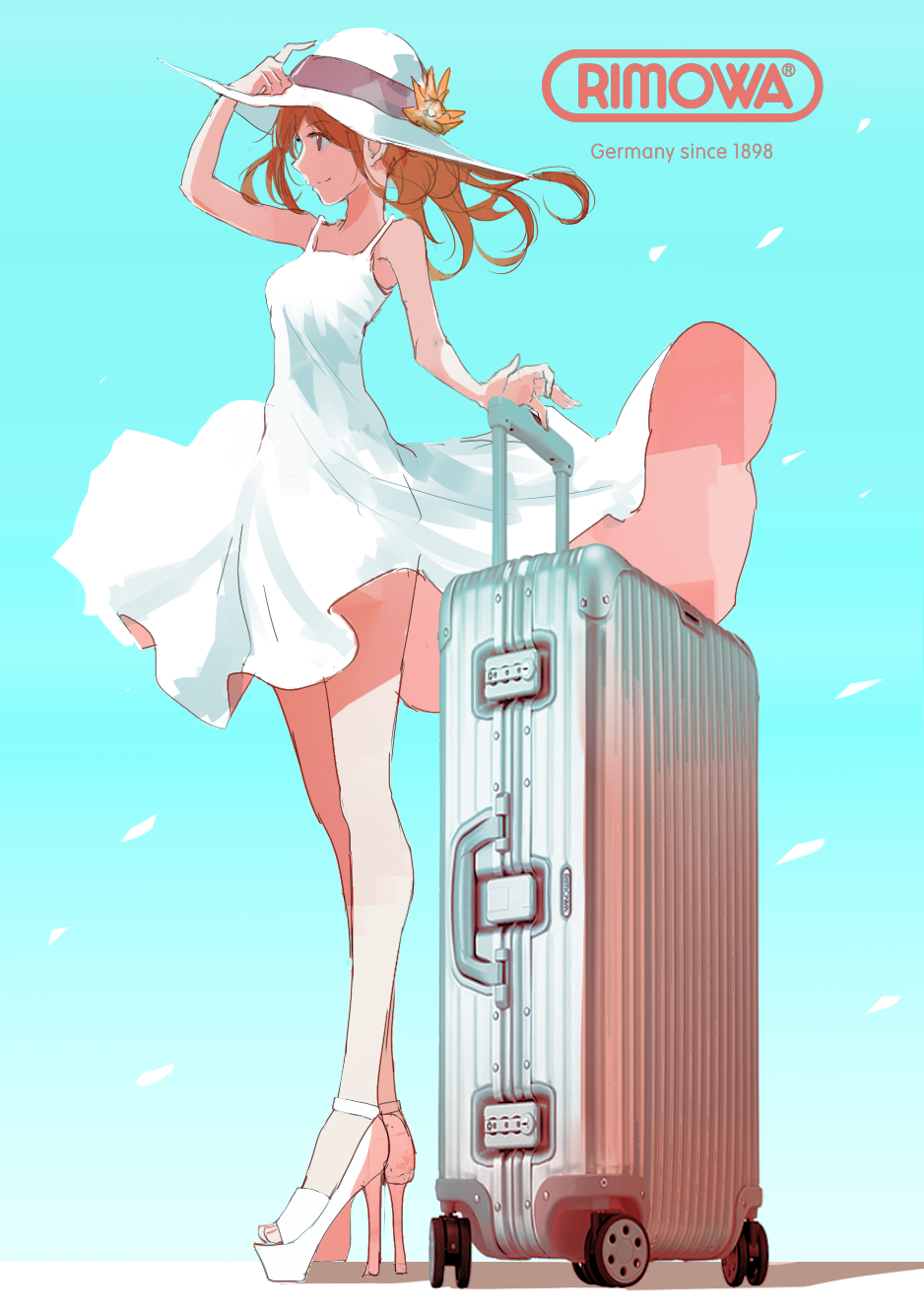 1girl bangs blue_background brown_eyes brown_hair closed_mouth day dress eyebrows_visible_through_hair fake_ad floating_hair from_side gradient gradient_background hat high_heels highres long_hair long_legs looking_to_the_side luggage original outdoors platform_footwear profile shoes smile solo spaghetti_strap standing sun_hat sundress swav white_dress white_shoes