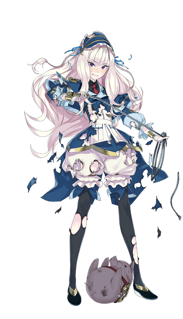 1girl black_shoes blonde_hair blush fakepucco formation_girls full_body goggles headdress highres holding_whip ivana_lavlinencova long_hair looking_at_viewer necktie official_art pantyhose pig red_necktie shoes solo torn_clothes transparent_background violet_eyes