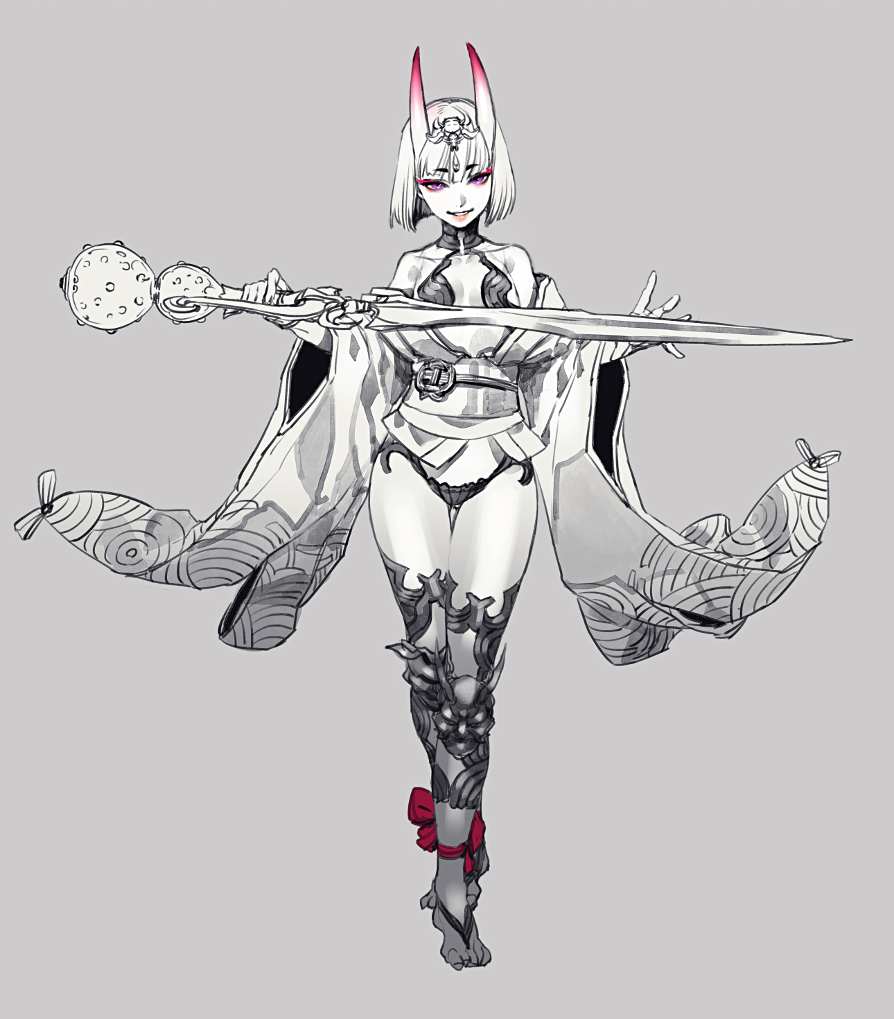 1girl armor bangs bare_shoulders barefoot blunt_bangs bob_cut breasts diadem eyebrows_visible_through_hair fate/grand_order fate_(series) full_body gem grey_background greyscale highres holding holding_sword holding_weapon horns japanese_clothes kimono knee_pads legband lipstick looking_at_viewer makeup monochrome obi off_shoulder oni_horns parted_lips pink_lips pink_lipstick sash short_eyebrows short_hair shuten_douji_(fate/grand_order) simple_background small_breasts smile solo spot_color standing sword thigh_gap violet_eyes weapon yosi135
