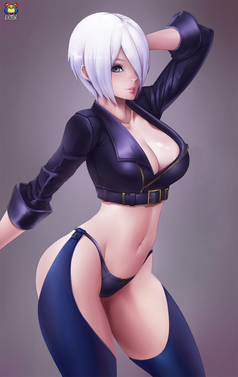 1girl angel_(kof) arm_at_side artist_name belt belt_buckle black_jacket black_panties blue_eyes breasts buckle chaps cleavage collarbone contrapposto cowboy_shot cropped_jacket eyelashes gradient gradient_background gradient_hair groin hair_over_one_eye hand_behind_head hand_up highres jacket kyoffie12 large_breasts long_sleeves makeup mascara midriff multicolored_hair navel no_bra nose one_eye_covered panties parted_lips short_hair silver_hair solo standing stomach teeth the_king_of_fighters underwear unzipped white_hair zipper