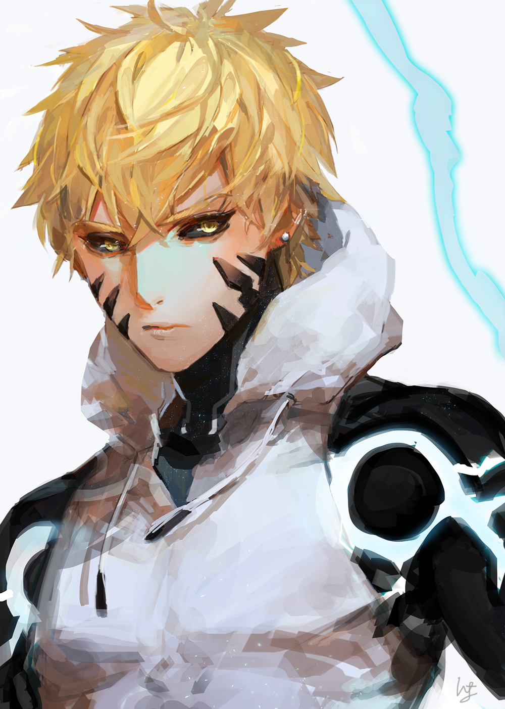 1boy black_sclera blonde_hair closed_mouth cyborg earrings electricity genos highres hood hoodie jewelry kamiya_miwo looking_at_viewer male_focus mechanical_arms one-punch_man signature simple_background solo torso upper_body white_hoodie yellow_eyes