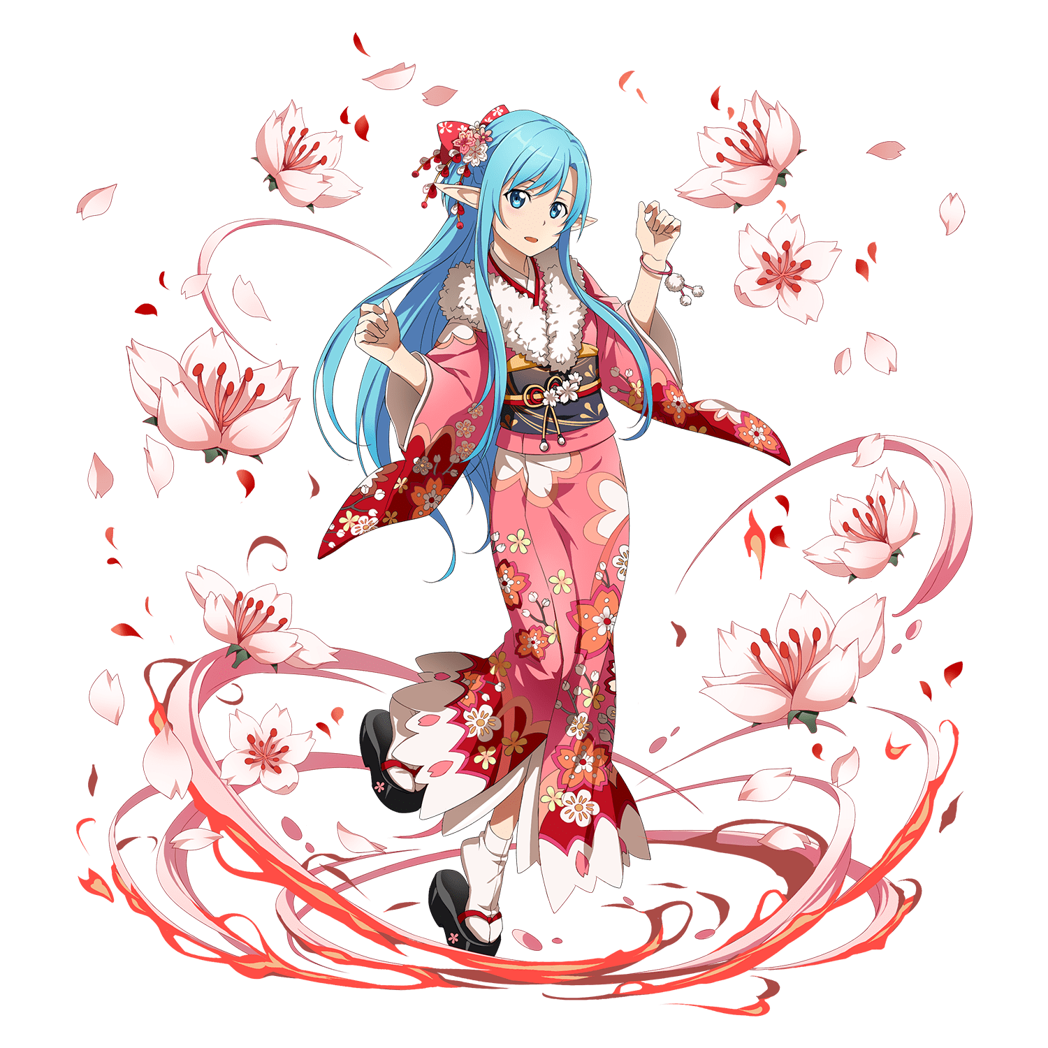 1girl asuna_(sao) asuna_(sao-alo) blue_eyes blue_hair bracelet braid floral_print flower french_braid full_body hair_flower hair_ornament highres japanese_clothes jewelry kimono long_hair long_sleeves obi official_art open_mouth petals platform_footwear pointy_ears sandals sash solo sword_art_online tabi wide_sleeves