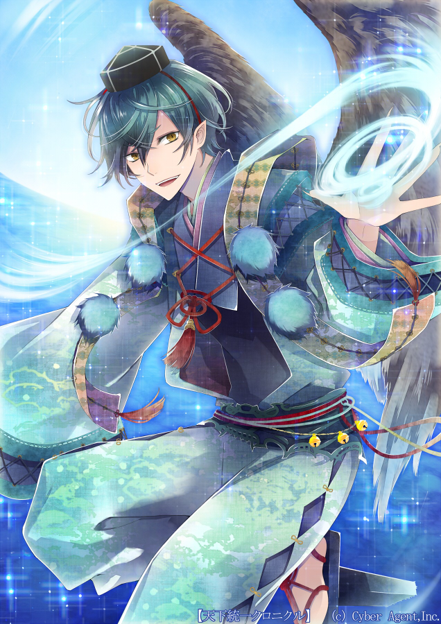 1boy blue_jacket blue_pants blue_sky commentary_request dutch_angle feathered_wings geta green_hair hat jacket japanese_clothes kuroyuki long_sleeves looking_at_viewer magic male_focus ocean official_art pants parted_lips sky smile solo tenka_touitsu_chronicle tokin_hat wings yellow_eyes