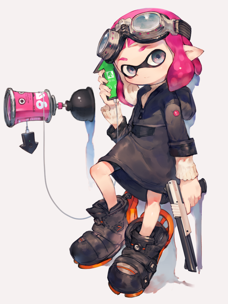 1girl bangs bike_shorts blue_eyes blunt_bangs boots domino_mask female full_body goggles goggles_on_head inkling jacket long_sleeves looking_at_viewer mask pink_hair pointy_ears simple_background solo splatoon sweater tentacle_hair toridamono turtleneck turtleneck_sweater white_background