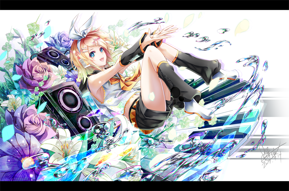 1girl :d armpits bare_shoulders blonde_hair blue_eyes blush detached_sleeves flower full_body hair_ornament hair_ribbon hairclip kagamine_rin leg_warmers letterboxed looking_at_viewer neckerchief official_art open_mouth ribbon sailor_collar shirt short_shorts shorts sleeveless sleeveless_shirt smile solo speaker tyouya vocaloid
