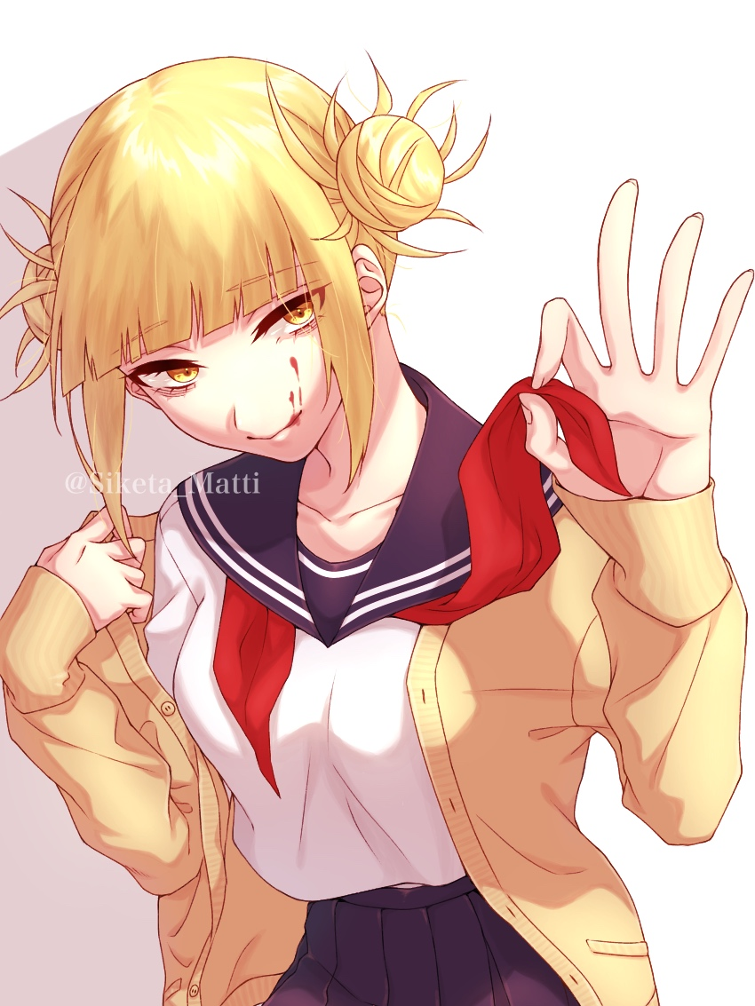 1girl artist_name bangs blonde_hair blood blood_on_face blunt_bangs boku_no_hero_academia breasts cardigan collarbone double_bun eyebrows_visible_through_hair hair_bun half-closed_eyes long_sleeves looking_at_viewer medium_breasts mizuki_mau pleated_skirt school_uniform serafuku simple_background skirt smile solo toga_himiko white_background yellow_eyes