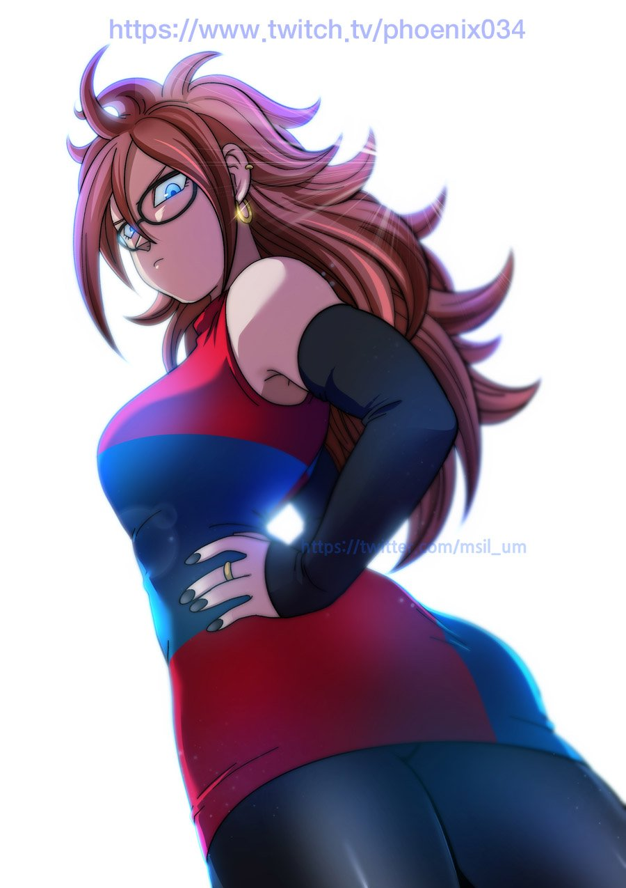 >:( 1girl android android_21 ass asymmetrical_clothes bangs bare_shoulders black-framed_eyewear black_nails blue_dress blue_eyes breasts closed_mouth detached_sleeves dragon_ball dragon_ball_fighterz dress earrings eyebrows eyelashes fingernails from_below frown glasses hair_between_eyes hand_on_hip highres hoop_earrings jewelry jpeg_artifacts large_breasts lens_flare long_hair long_sleeves multicolored multicolored_clothes multicolored_dress nail_polish red_dress ring short_dress simple_background solo turtleneck twitch_username twitter_username umelim white_background