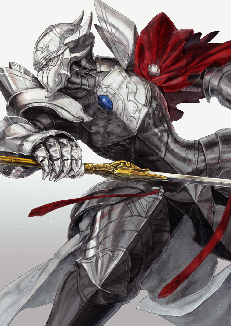 1boy armor attack cape fantasy from_side full_armor gauntlets gem gradient gradient_background grey_background helmet holding holding_sword holding_weapon horned_helmet horocca overlord_(maruyama) pauldrons plate_armor profile red_cape solo sword touch_me warrior weapon