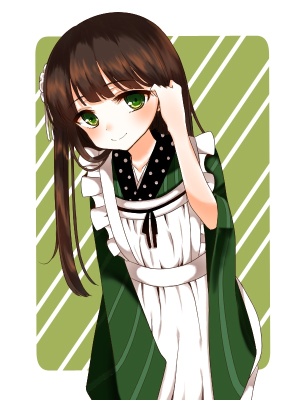 1girl ama_usa_an_uniform apron asagiri_koori bangs blunt_bangs brown_hair closed_mouth commentary_request cowboy_shot diagonal-striped_background eyebrows_visible_through_hair flat_chest flower gochuumon_wa_usagi_desu_ka? green_eyes green_kimono hair_flower hair_ornament hair_tousle japanese_clothes kimono long_hair long_sleeves looking_at_viewer maid_apron polka_dot_trim ribbon smile solo standing striped striped_kimono two-tone_background ujimatsu_chiya white_apron white_border white_flower white_ribbon wide_sleeves