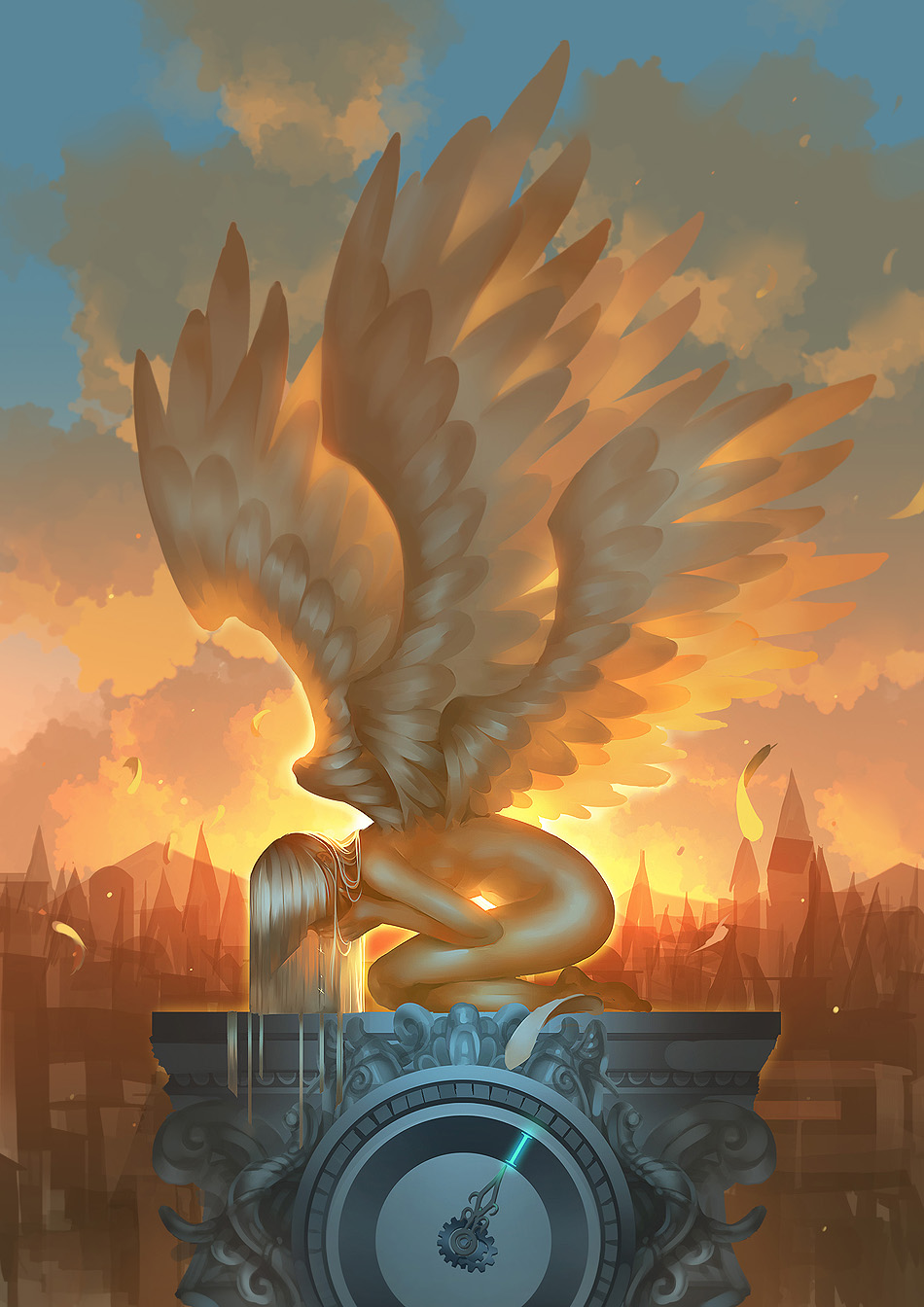 1girl angel bangs blunt_bangs city cityscape clock clock_tower clouds cloudy_sky crying feathers hands_over_mouth highres kneeling long_hair madcocoon multiple_wings nude original roman_numerals sky solo sunset tower white_hair wings