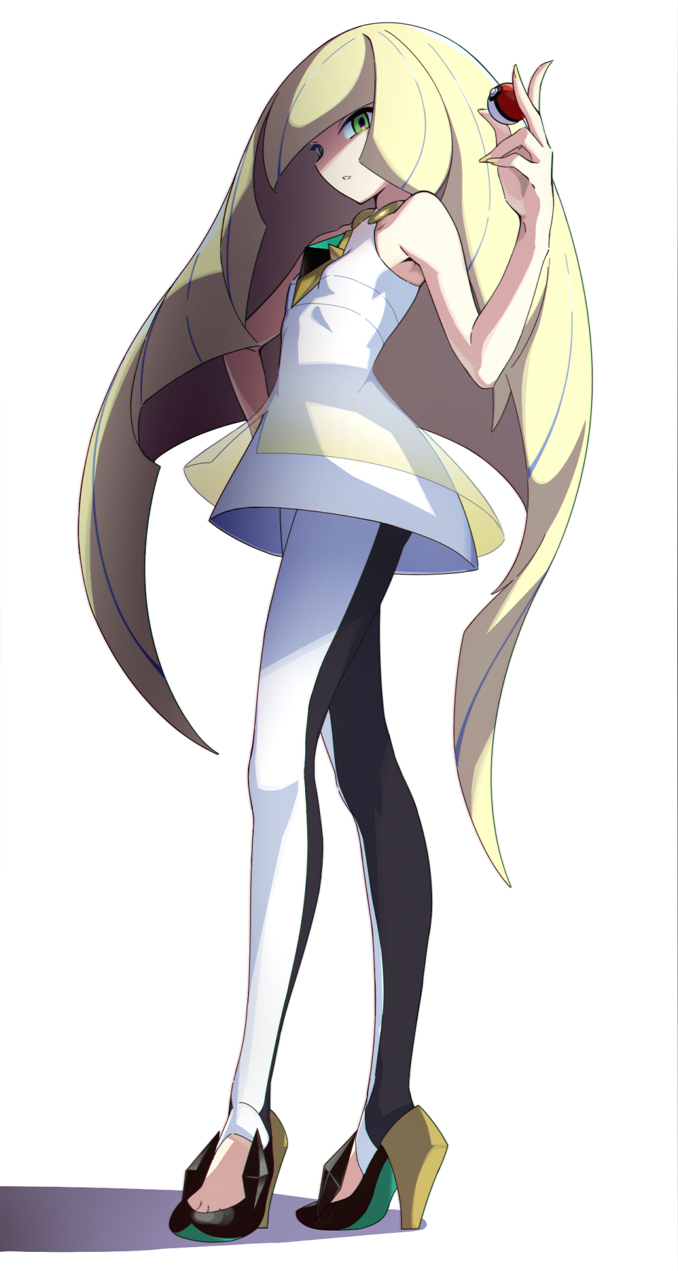 1girl bare_arms bare_shoulders black_legwear blonde_hair dress female full_body gem green_eyes hand_on_hip high_heels highres leggings long_hair looking_at_viewer lusamine_(pokemon) nail_polish parted_lips poke_ball pokemon pokemon_(game) pokemon_sm shaded_face short_dress sleeveless sleeveless_dress solo suke_(158628) very_long_hair white_legwear yellow_nails