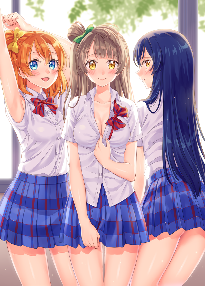 3girls armpits arms_up ass bangs blue_eyes blue_hair blue_skirt blush bow bowtie breasts cleavage collarbone cowboy_shot green_ribbon grey_hair hair_between_eyes hair_bow hoshisakura_(starblossom) kousaka_honoka long_hair looking_at_viewer love_live! love_live!_school_idol_project love_live!_sunshine!! minami_kotori multiple_girls one_side_up open_mouth orange_hair otonokizaka_school_uniform plaid plaid_skirt red_ribbon ribbon shirt short_hair skirt smile sonoda_umi striped striped_bow striped_bowtie stripped white_shirt yellow_eyes yellow_ribbon