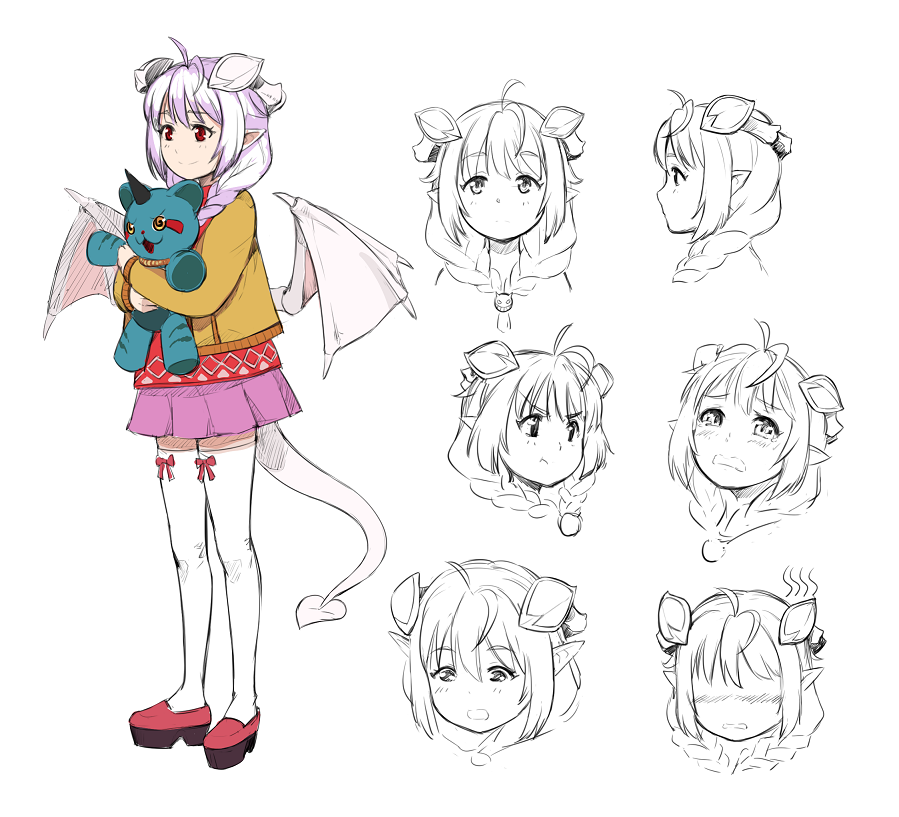 1girl :o :t ahoge bangs blush braid child closed_mouth crying demon_girl demon_horns demon_tail demon_wings embarrassed expressions eyebrows_visible_through_hair hair_over_shoulder holding holding_stuffed_animal horns jacket lavender_hair lilim_(monster_girl_encyclopedia) long_sleeves looking_at_viewer looking_down maritan_(pixelmaritan) monster_girl monster_girl_encyclopedia multiple_views original pink_skirt pleated_skirt pout profile red_eyes red_shirt runa shirt shoes simple_background skirt smile standing stuffed_animal stuffed_toy succubus tail thigh-highs twin_braids white_background white_legwear wings yellow_jacket