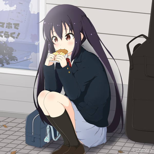 1girl bag black_hair black_legwear blazer bow bowtie brown_eyes commentary_request eating guitar_case holding instrument_case jacket k-on! kneehighs long_hair miicha nakano_azusa pleated_skirt school_bag school_uniform shoes skirt solo squatting twintails