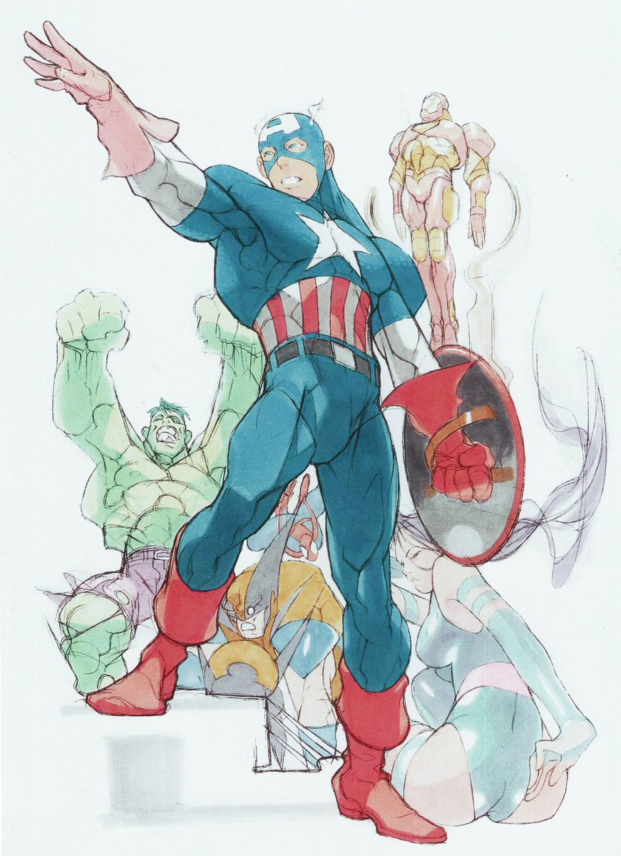 1995 1girl armor belt bengus capcom captain_america gloves green_skin helmet highres hulk iron_man long_hair marvel multiple_boys official_art oldschool psylocke shield sketch spider-man wolverine