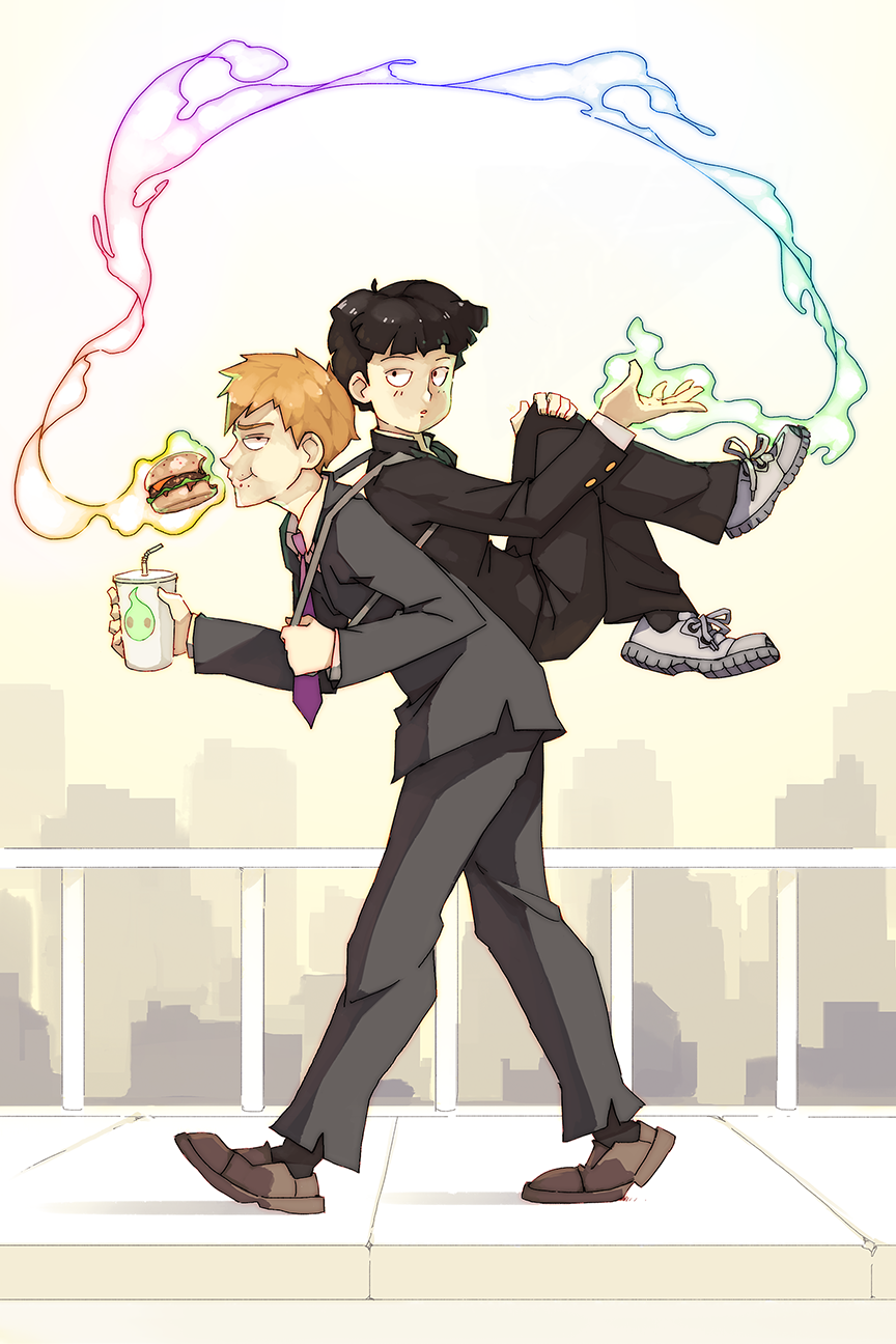 2boys bangs black_eyes black_hair blonde_hair bowl_cut business_suit city collar cup day drink drinking_straw food formal gakuran hamburger highres holding kageyama_shigeo long_sleeves looking_at_viewer male_focus mob_psycho_100 multiple_boys necktie pants railing rainbow_gradient reigen_arataka rtil school_uniform shoes sidewalk smile suit telekinesis walking