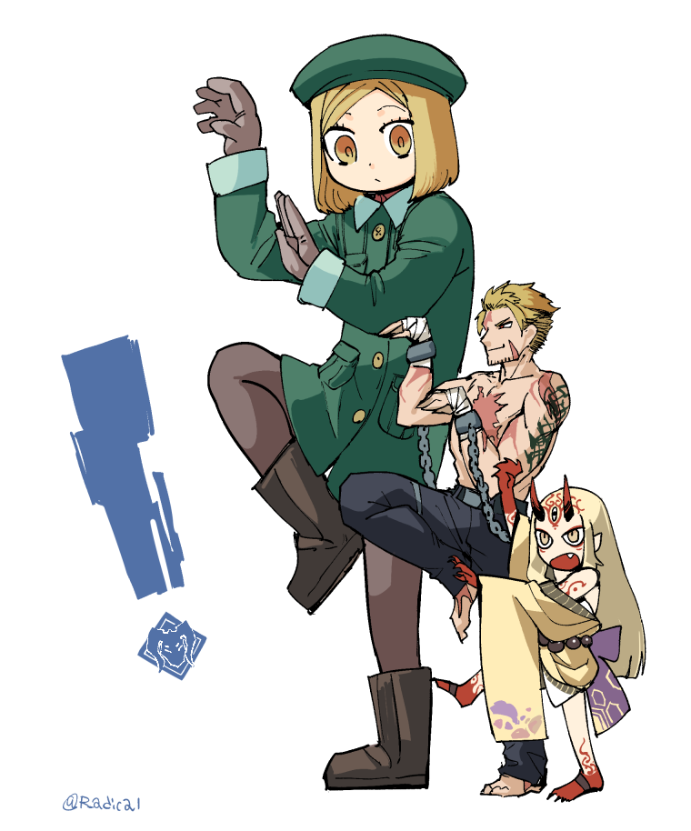 ! 1boy 2girls arms_up bandage belt beowulf_(fate/grand_order) beret blonde_hair boots commentary cuffs fate/grand_order fate_(series) giantess gloves green_coat hat height_difference ibaraki_douji_(fate/grand_order) japanese_clothes kimono long_hair looking_at_another looking_to_the_side mado_(mukade_tou) multiple_girls oni_horns pantyhose paul_bunyan_(fate/grand_order) scar shackles short_hair standing standing_on_one_leg tattoo twitter_username white_background yellow_eyes yotsubato! yotsubato!_pose