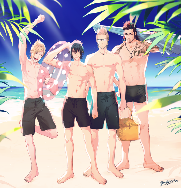 4boys beach black_hair blonde_hair brown_hair final_fantasy final_fantasy_xv gladiolus_amicitia ignis_scientia innertube jewelry male_focus male_swimwear multiple_boys necklace noctis_lucis_caelum palm_tree picnic_basket prompto_argentum setsu-st summer swim_trunks swimwear tattoo tree