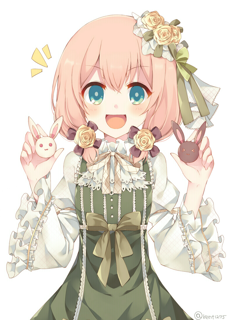 /\/\/\ 1girl :3 bow dress flower gothic_wa_mahou_otome green_bow green_dress green_eyes long_sleeves looking_at_viewer low_twintails open_mouth pink_hair rento_(rukeai) rose rose_hair_ornament short_hair smile solo souffle_(gothic_wa_mahou_otome) twintails yellow_flower yellow_rose
