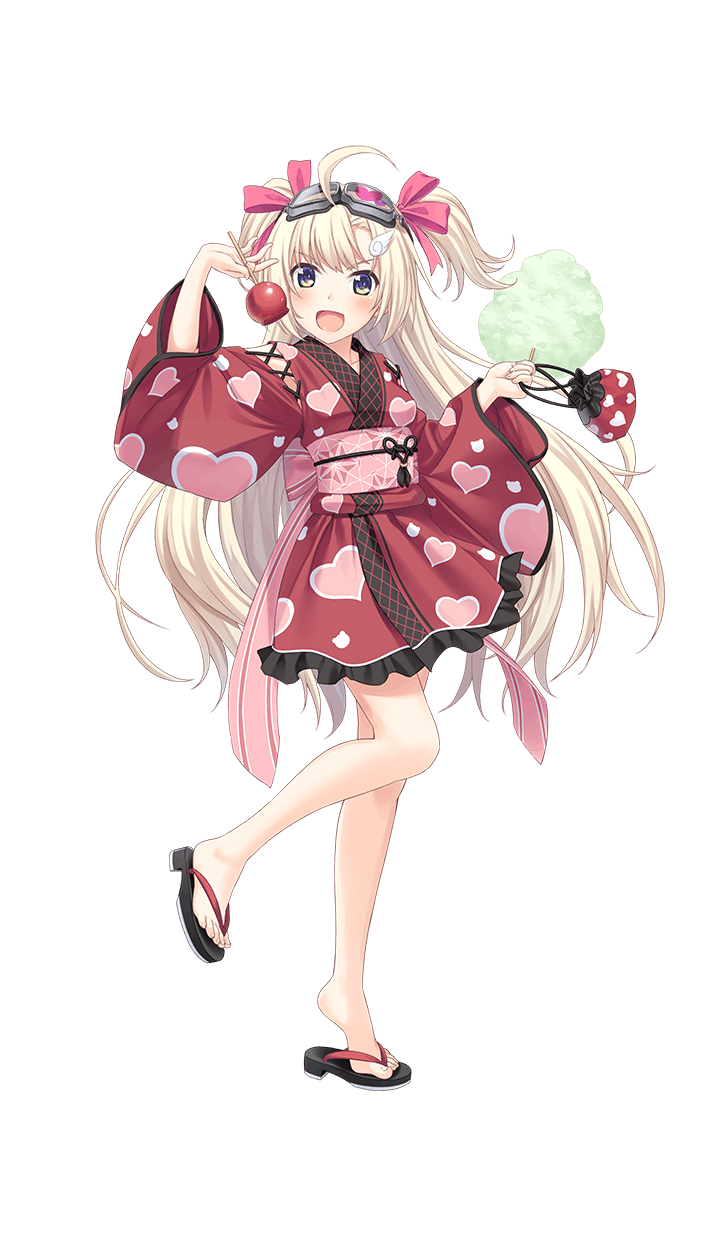 >:d 1girl :d ahoge alternate_costume animal_print bag bear_print blonde_hair blue_eyes blush candy_apple character_request chestnut_mouth food formation_girls full_body goggles goggles_on_head hair_ornament hair_ribbon heart heart_print highres japanese_clothes kimono kinchaku long_hair looking_at_viewer obi official_art olga_hodrewa one_eye_closed open_mouth pink_ribbon pouch print_bag print_kimono ribbon sandals sash short_twintails smile solo standing tenkuu_nozora transparent_background twintails two_side_up wing_hair_ornament yukata