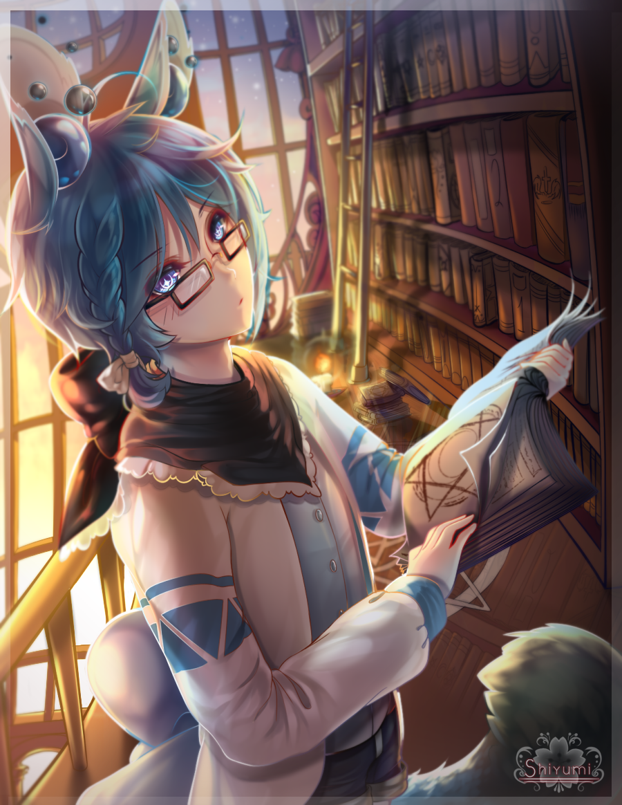 1boy animal_ears artist_name bad_perspective blue_eyes blue_hair book book_stack bookshelf braid brown-framed_eyewear candle glasses kenta_(elissya-chan) ladder library looking_at_viewer magic_circle open_book shiyumi solo tail watermark window