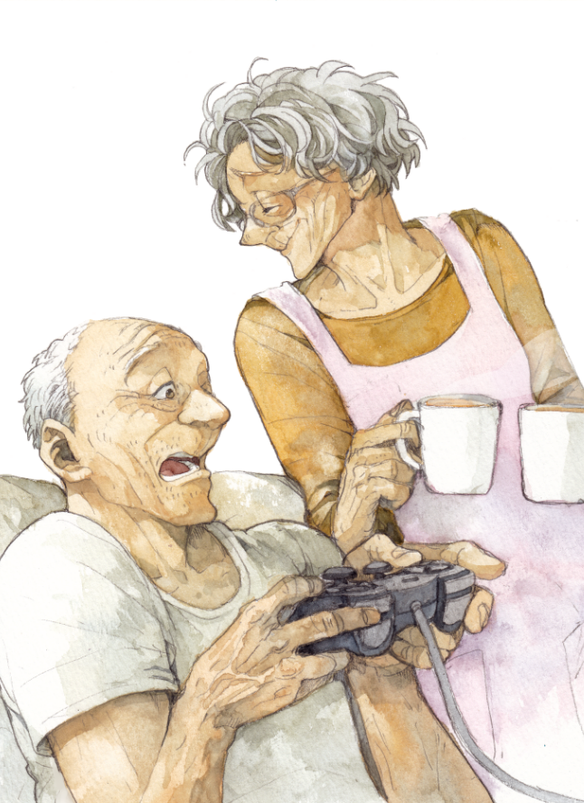 1boy 1girl apron closed_eyes controller cup drink game_controller glasses grandparents graphite_(medium) grey_hair ina_(gonsora) looking_to_the_side mug old_man old_woman open_mouth original playing_games playstation_controller short_hair sitting smile steam traditional_media watercolor_(medium) white_background wrinkles